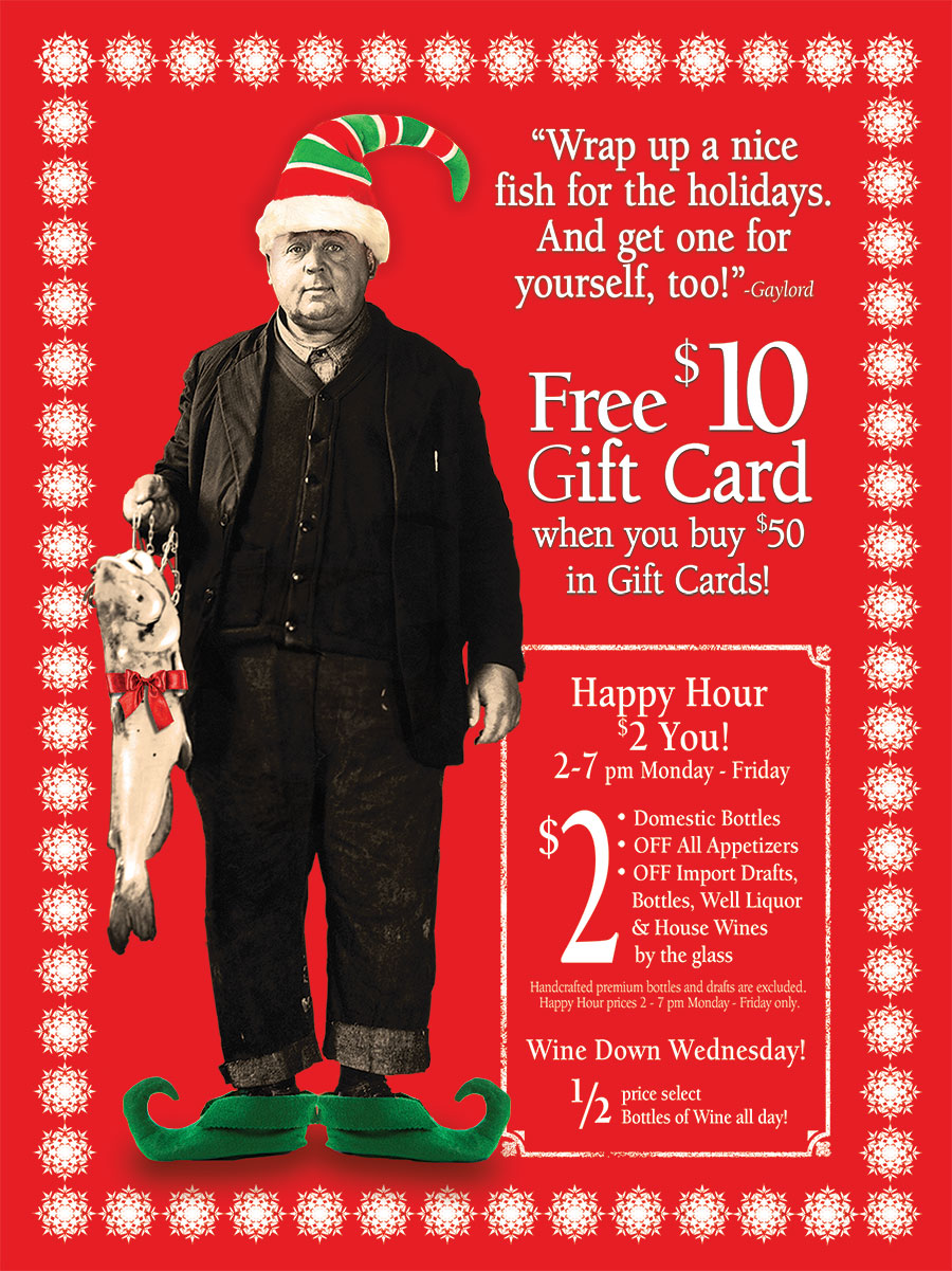 Free $10 Gift Card When You Buy $50 in Gift Cards! Plus Happy Hour $2 You! 2-7 pm, Monday-Friday