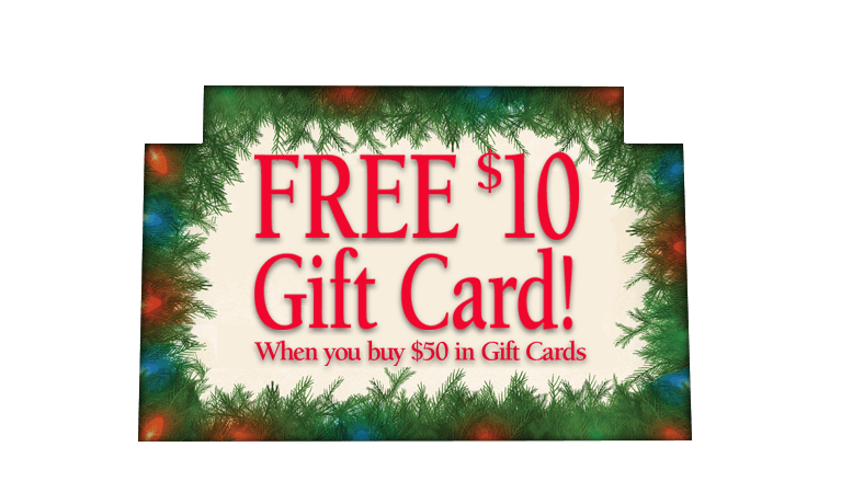 Free $10 Gift Card when you buy $50 in Gift Cards!